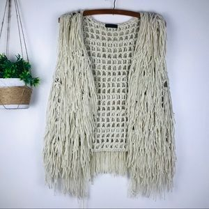 Jackets & Blazers - Fringe knit cream vest jacket